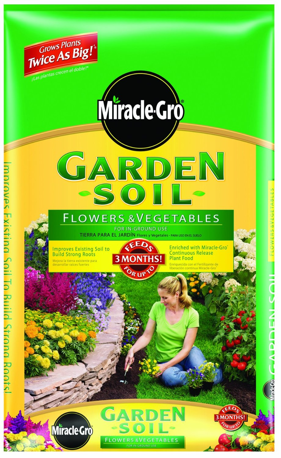 Miracle-Gro 73452300 Garden Soil for Flowers and Vegetables Mix Bag, 2- Cubic-Feet (Older Model)