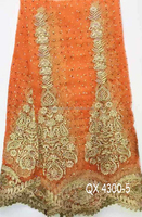 Polyester fabric wholesale embroidery designQX4300-5 nigeria laces net+embroiderylace fabric orange