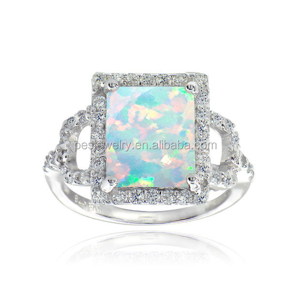 PES Fashion Jewelry! Natural White/Blue Opal and Pave Cubic Zirconia Square Ring (PES6-1712)