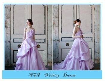 Stunning Off Shoulder Light Purple Satin Ruffled Wedding Gowns Ball ...