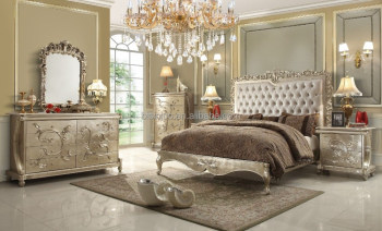 royal european style wooden bedroom set with gold leaf antique bedroom furniture - Antique Bedroom Sets