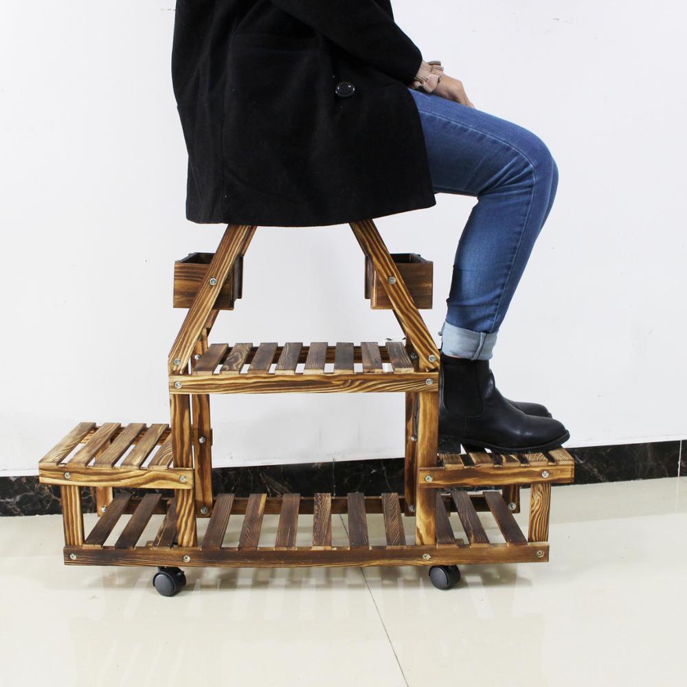 Muebles De Marco Con Rueda De Flor De Madera Planta Olla Rack - Buy ...