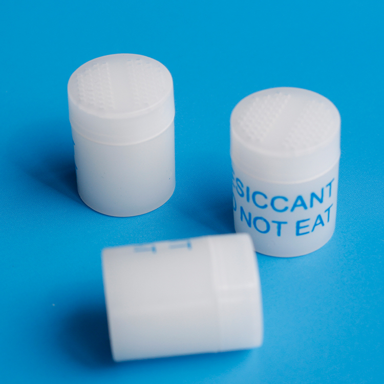 moisture absorbent plastic desiccant canister for vitamin supplements freshness