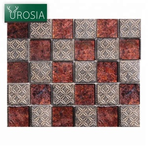square tile decor mosaic for kitchens and bathroom backsplash Red Mixed silver Crystal Glass Mosaic Tile