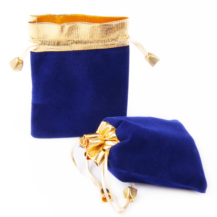 86f52eb6d29c34 50pcs wholesale blue and gold velvet jewelry pouch bag for gift on wedding  christmas beauty design 9*12