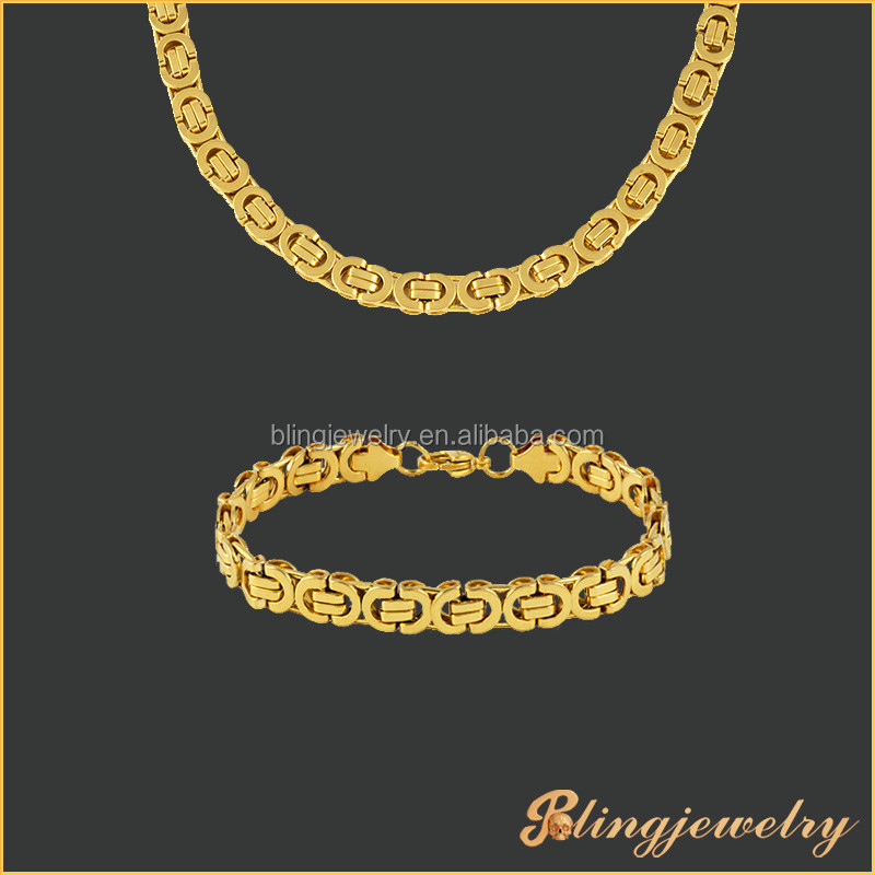 Top quality real gold PVD plating stainless steel flat Byzantine chain necklace