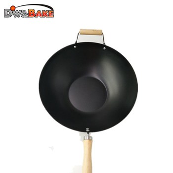 Traditional Cast Iron Chinese Kitchen Wok With Two Wood Handle