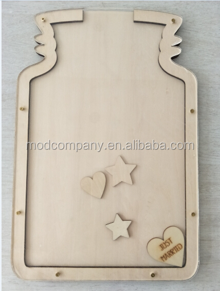 personalized wooden frame for wedding with wooden hearts insert