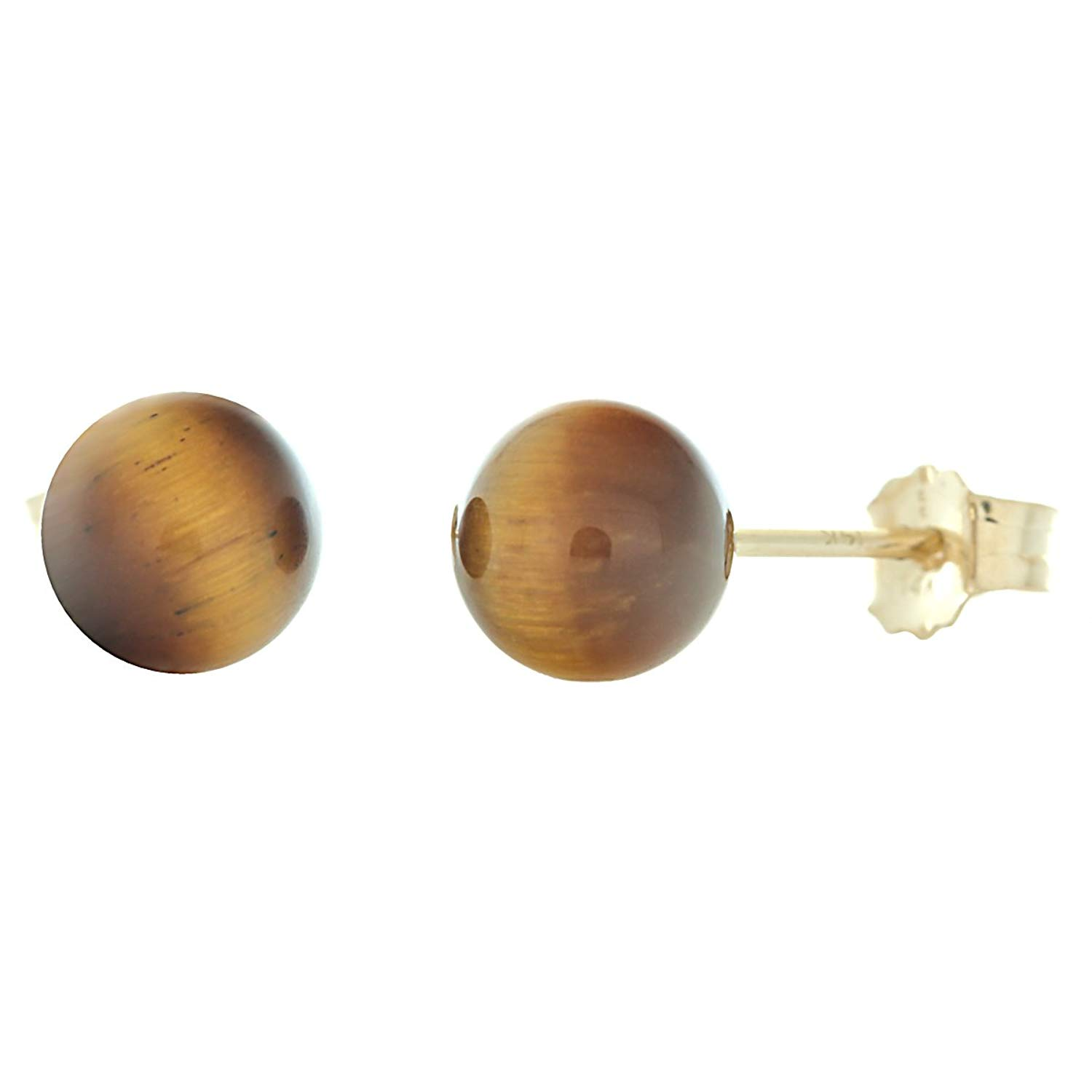 cf8c1ff04 Get Quotations · Trustmark 14K Yellow Gold 6mm Natural Brown Tigers Eye Ball  Stud Post Earrings Solid