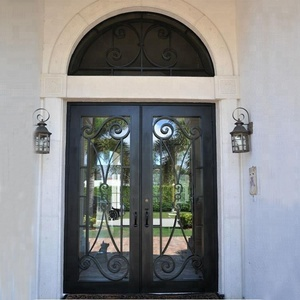 Design your own luxury anti-water door wrought iron double front entry door with transom