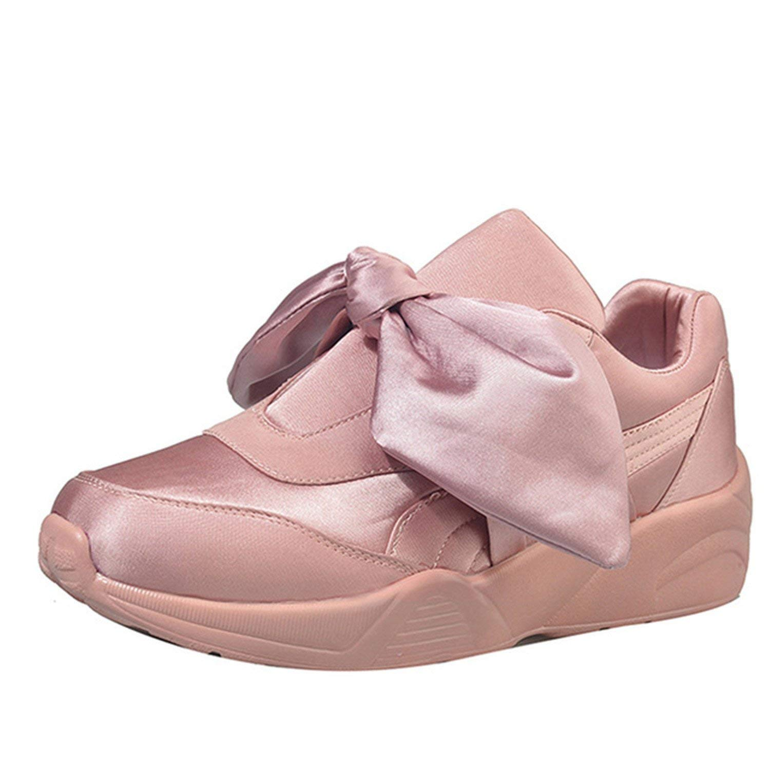 9190525e5145 Get Quotations · Feilongzaitianba Spring Shoes Women Silk Bow Tie Ribbon  Satin Flats Lace-Up Casual Shoes Pink