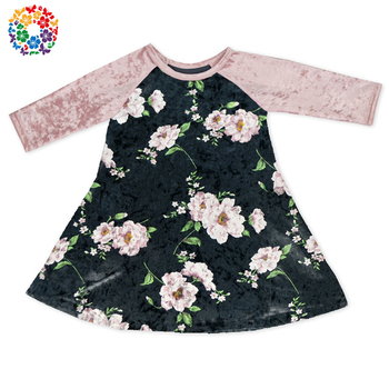 9ff463430 Simple Baby Frock Design Baby Winter Long Sleeve Crushed Velvet Dress Baby  Clothes Girls Party Dresses