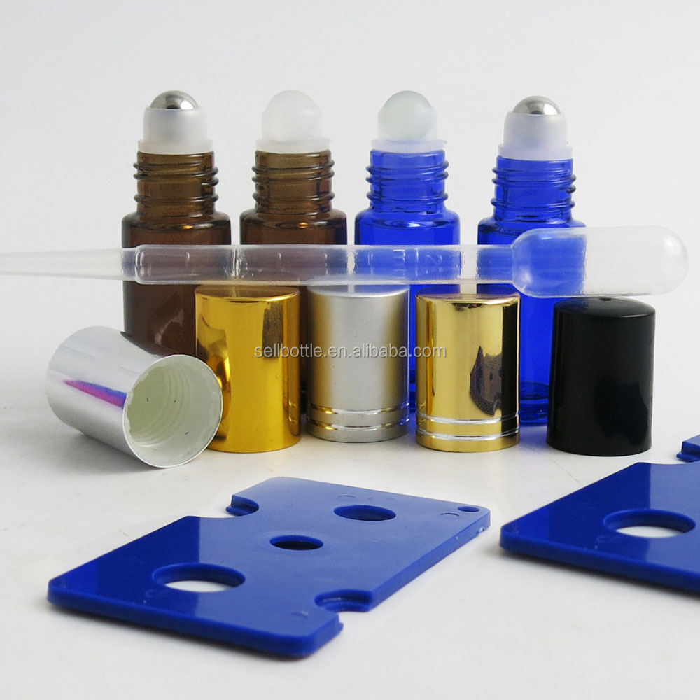 Hot selling Empty 5ML Blue/Amber Roll On Glass Bottle With Glass/Stainless Steel Roller Ball Metal Cap Essential Oil/Perfume Use