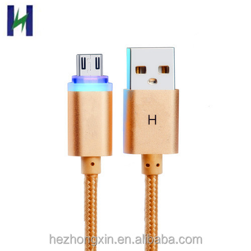 2018 OEM 1 m Kleurrijke gevlochten micro USB Charge kabel met LED licht voor Nokia Android mobiele telefoon
