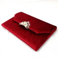 Luxurious Velvet Arabic Wedding Invitation Cards With Pearl Crown Brooch