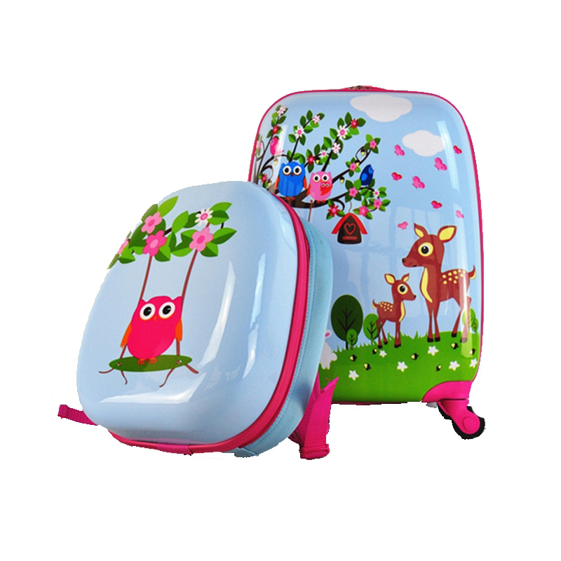 AXM01-2 HK DA SHAN Children Suitcase Cartoon Luggage School Bag with Wheels