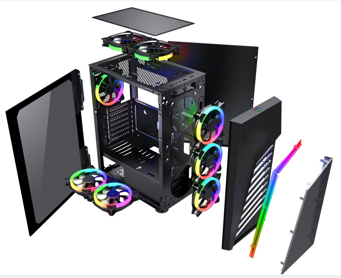 Y01 2019 New Arrival 210mm width case gamer for pc with RGB Strip Lights/ Metal Mesh gaming pc mid tower chassis