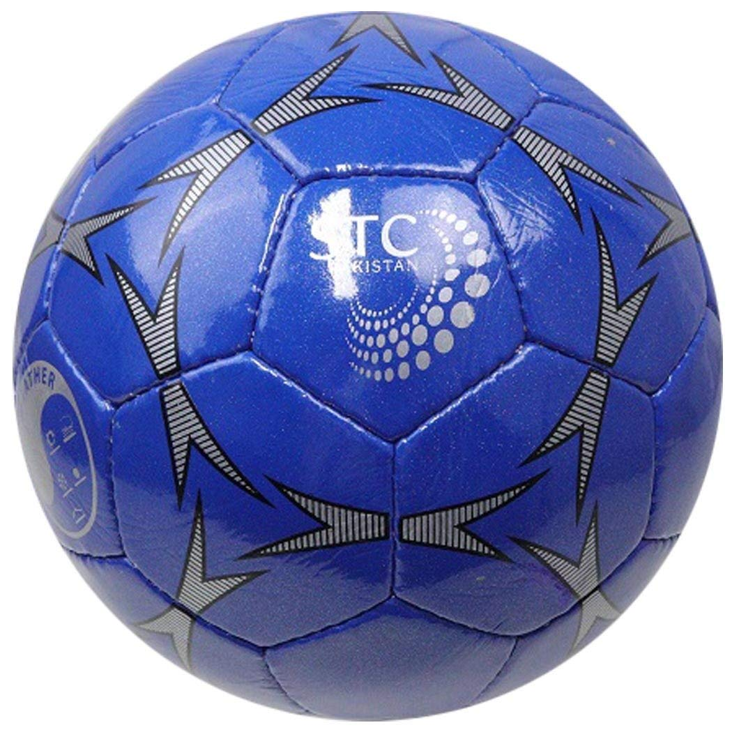 PERRINI Sports Indoor Outdoor Blue Soccer Ball With Black & Grey Design Size 5