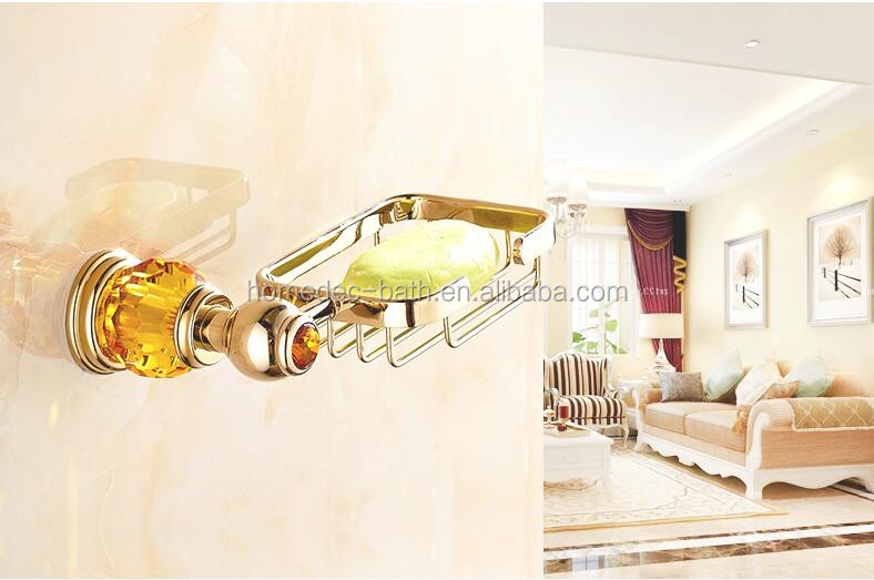 Gold Color Bathroom Accessories Wall Mounted Brass Soap Basket Dish