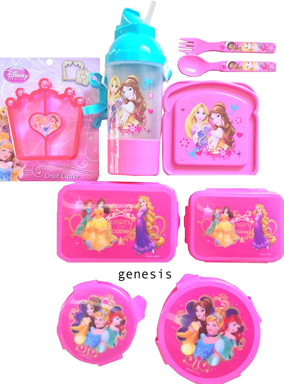Disney Princesses 8 Pc Children's Lunch Gift Set With Snack & Food Storages, Bottle, Crust Cutter & Utensils