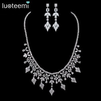 LUOTEEMI New Arrival Fashion Luxury Multi Zircon Wedding Party Necklace Earring Jewelry Set For Women