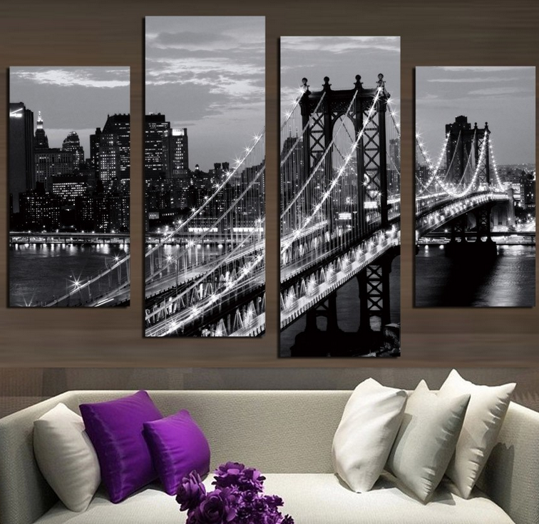 Stretched 4 Pcs/Set Modern Wall Paintings New York City Canvas Prints Cityscape Artist Canvas Decorative <strong>Picture</strong>