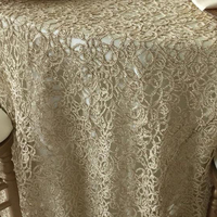 GOLD CHEMICAL EMBROIDERY TABLE CLOTH COVER MADE IN CHINA FOR WEDDING