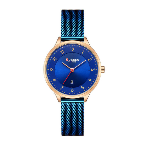 CURREN 9035B Women Fashion Casual Japan Quartz Movement Stainless Steel Simple Style Auto Date Hand Lady Watch