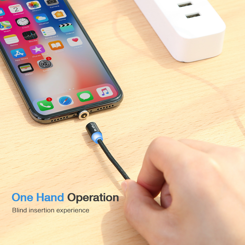 CE ROHS FC Approved Free Shipping High Quality Round Magnetic Charger Cable RAXFLY USB Charging Cable Magnet Mobile Phone Cable