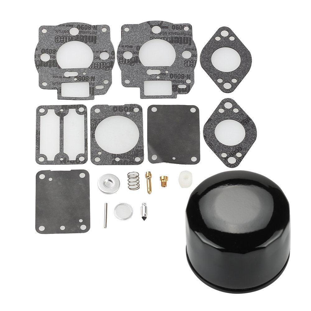 Harbot 693503 693501 Carburetor Rebuild Overhaul Kit + 7045184 492932 492932S Oil Filter for Briggs & Stratton 422447 42A707 42A777 422707 422777 422432 Engine Lawn Mover