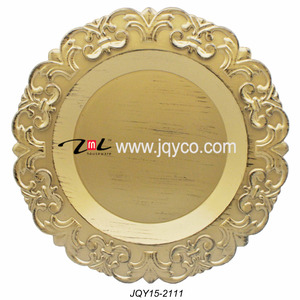 Wholesale customized gold charger plate plastic, decorative plastic plates