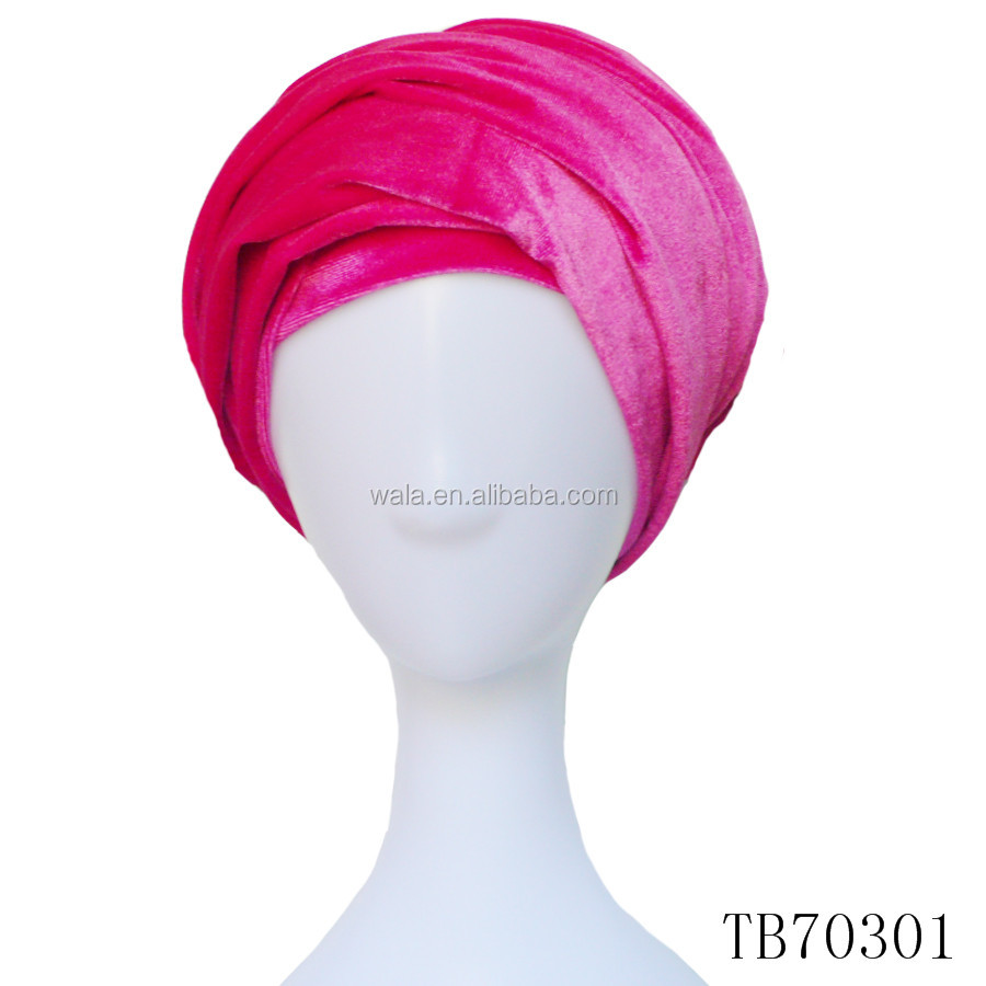 TB70301-- High Quality 2017 New African Fashion Women Plain Soft Velvet Turban Hat Head Wrap