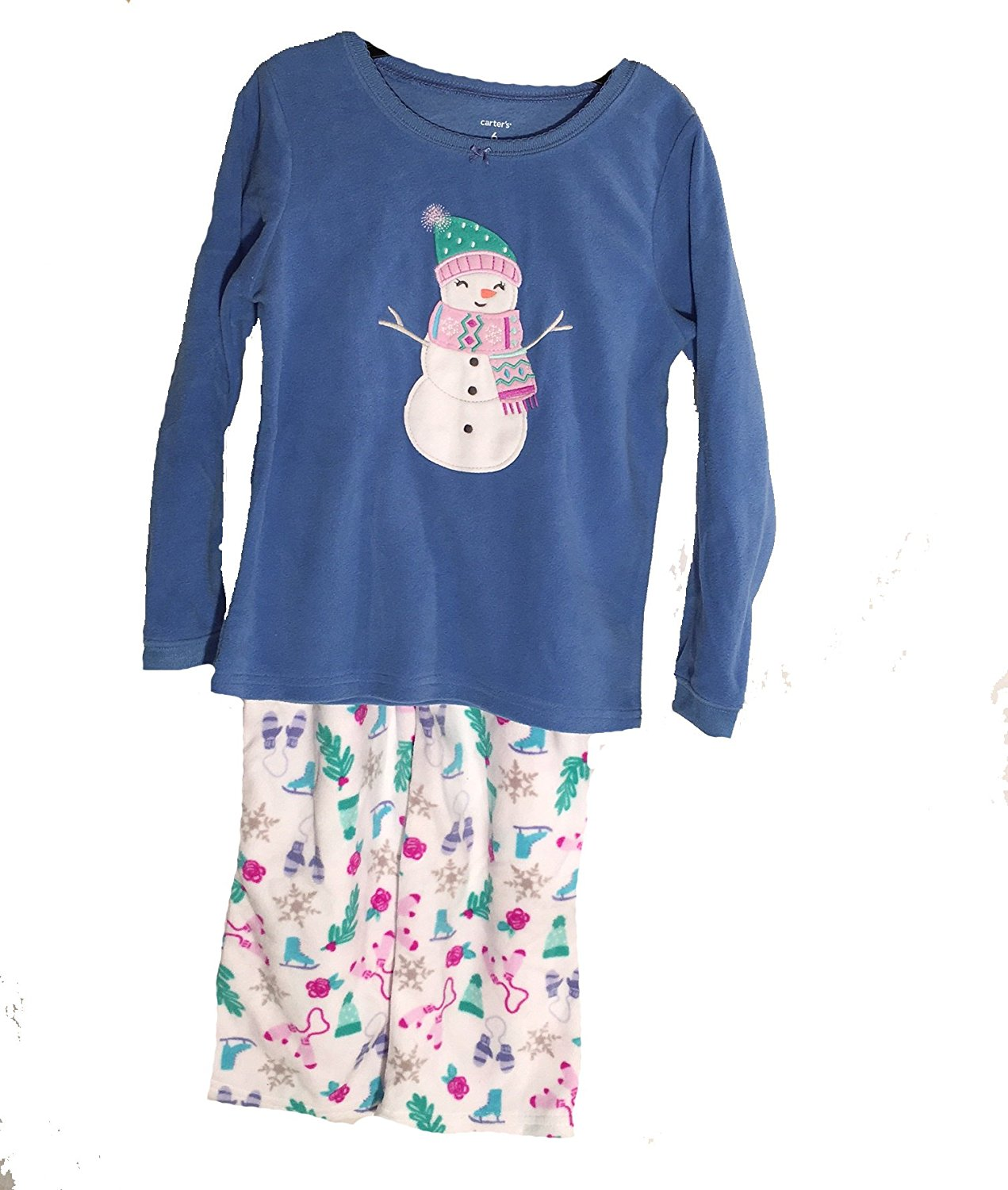 a34dae30d Get Quotations · Carters Girls 2 Piece Fleece Sleepwear Set, Snowman,Pink /Blue,6