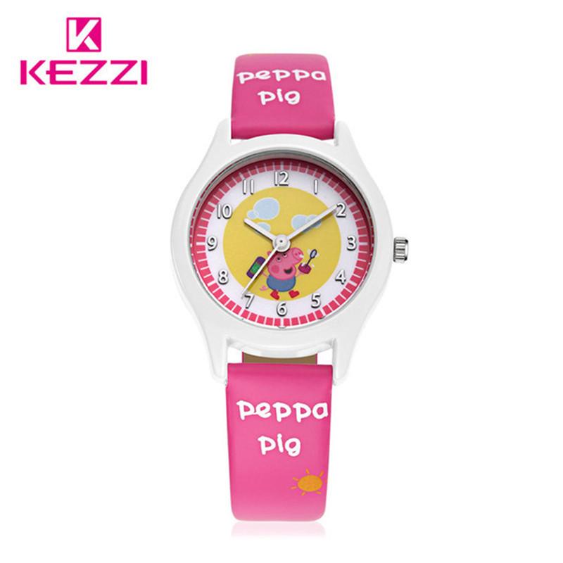 2016 KEZZI New Children Peppa pig Cartoon Watches Fashion Kids Student Cute Leather Sports Analog Wrist Watches relojes