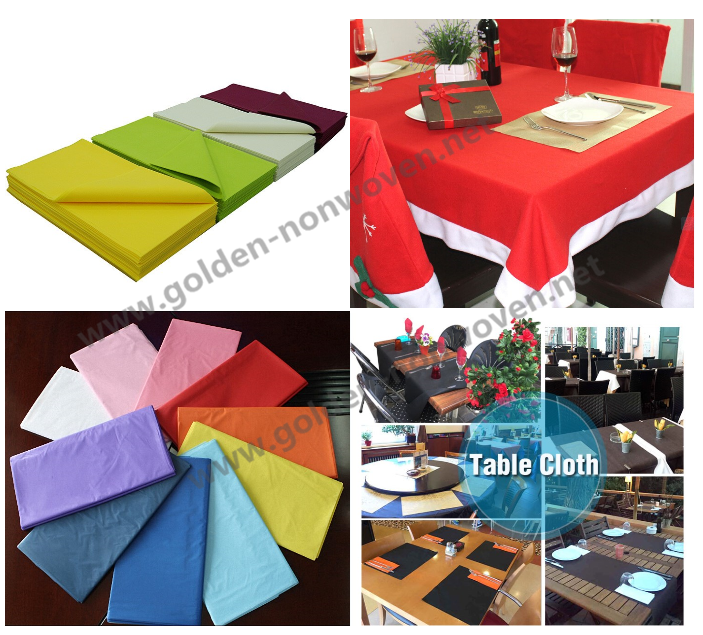 China Mainland Non Woven Made Non Slip Tablecloth Roll/50gsm Nonwoven  Disposable Table Cloth