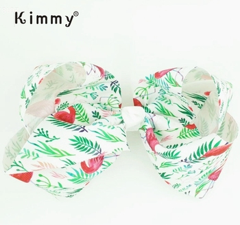 8 Inch Large Flamingo Printed Hair Bows for Girls Grosgrain Ribbon Hairgrips