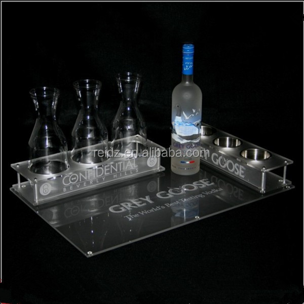 Cheap price popular acrylic bar service bottle tray