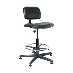 "Bevco 4500 Economical Ergonomic Standard Chair, 18"" Dia. Adjustable Chrome Footring, Reinforced Plastic Base, 22-1/2"" to 32-1/2"" Height Adjustment, Black"
