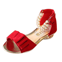 Children s sandals 2016 summer bow girls pearl beaded sandals open toed shoes with flat fashion