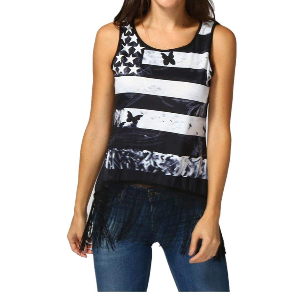 Casual American Flag Tank Top for Women Juniors Racerback Loose Strappy Sleeveless Tops Basic T-Shirt Blouse Clearance Sale (L, Black)
