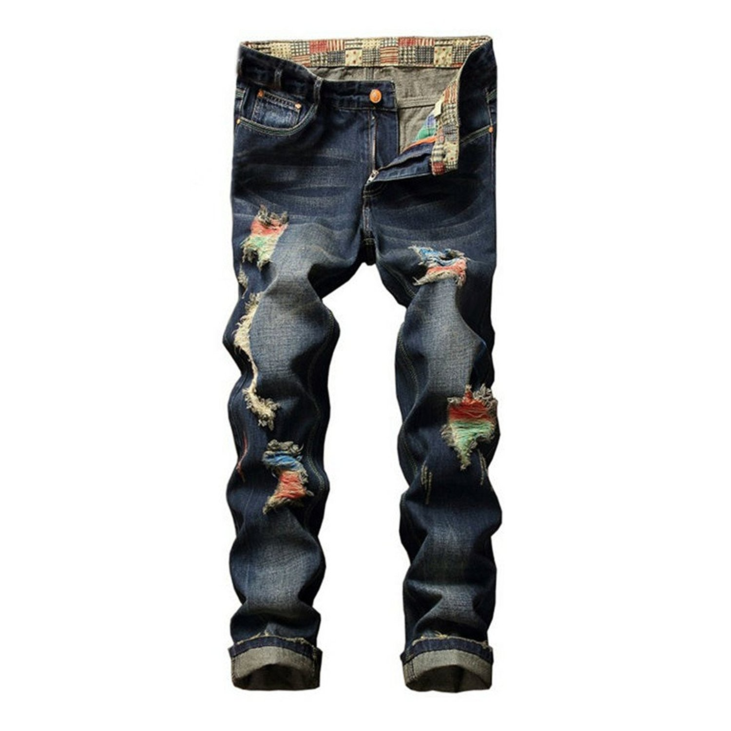 Hzcx Fashion Men's Ripped Distressed Brushed Slim Fit Tapered Leg Jeans