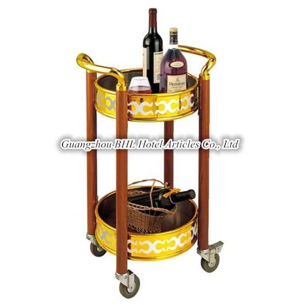 Guangzhou BHL Hotel Articles Round Double-deck Wooden Rolling vintage bar cart wine and liquor serving cart C-38