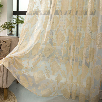 Luxury jacquard embroidered voile sheer fabric for window curtain