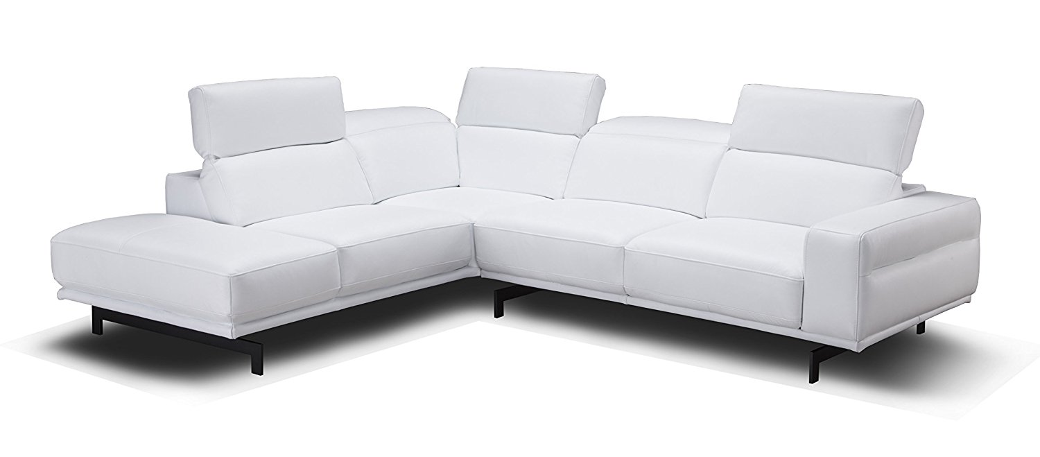 J and M Furniture 17988-LHFC Davenport Snow White LHF Chaise Premium Leather Sectional Sleeper