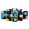 Abstract Black and White Abstract Musical Earphone Painting Hd Printed Canvas Wall Art for Living Room 5 Panels