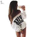 2016 New Autumn Tracksuit For Women Hoodies PINK Letter Print One Shoulder Collar Loose White