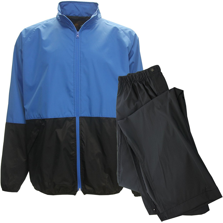 Forrester Packable Waterproof Golf Rain Suit, X-Large Blue/Blk Jacket/Black Pant