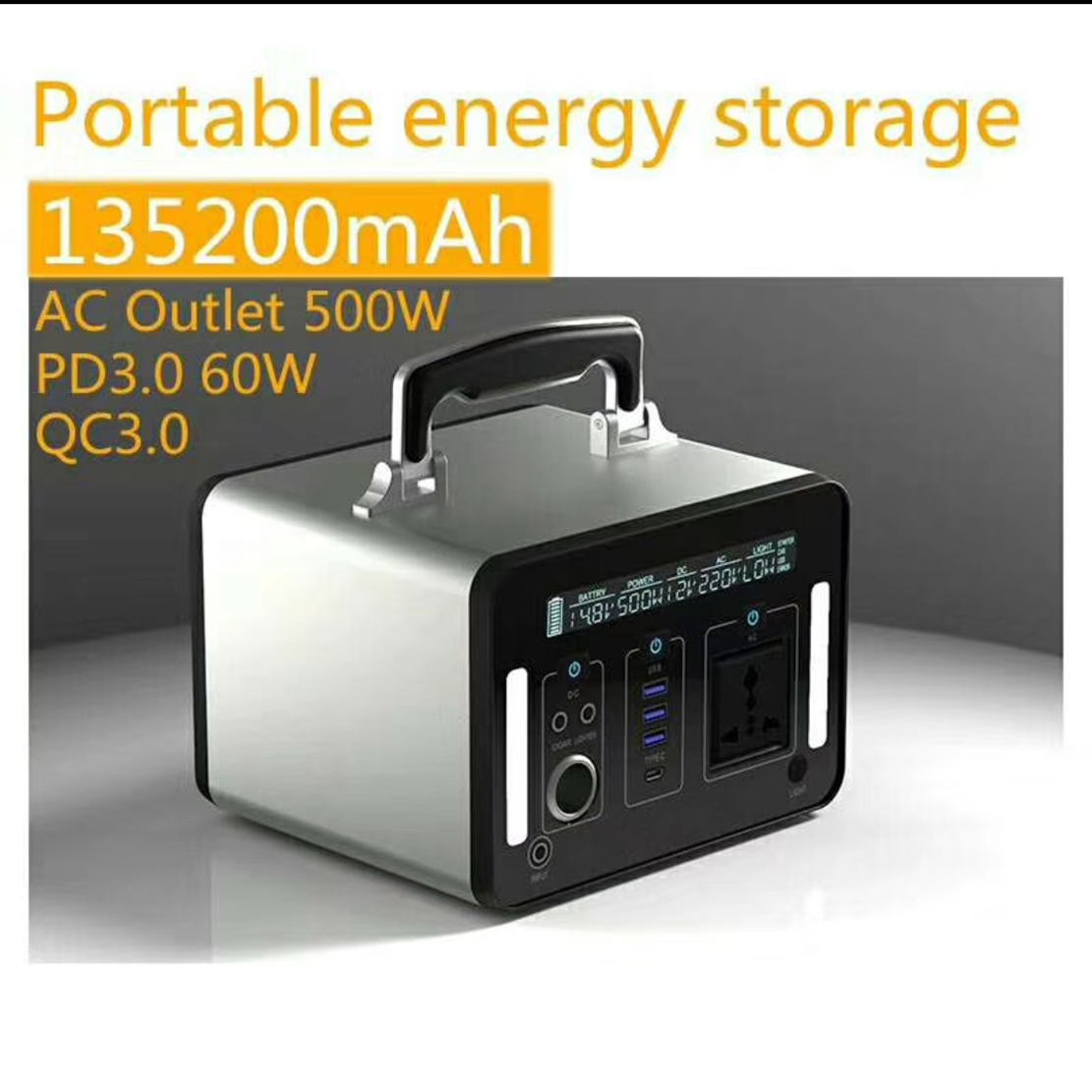 500Wh Portable Outdoor and Residential Eco Energy Storage Solar Lithium Battery Power Station Bank