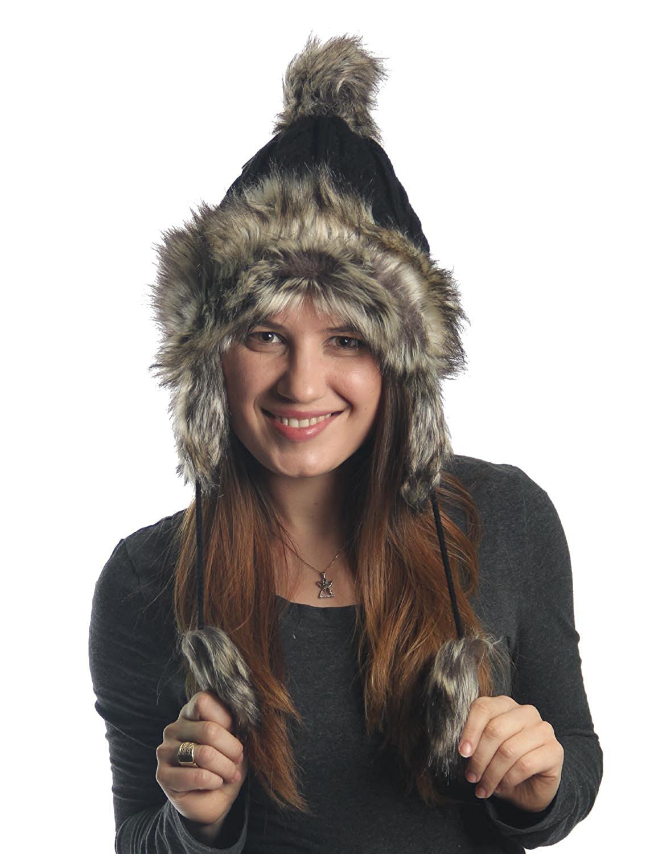 KayJay Earflap Furry Cable Knit Trooper Trapper PomPom Ski Snow Hat