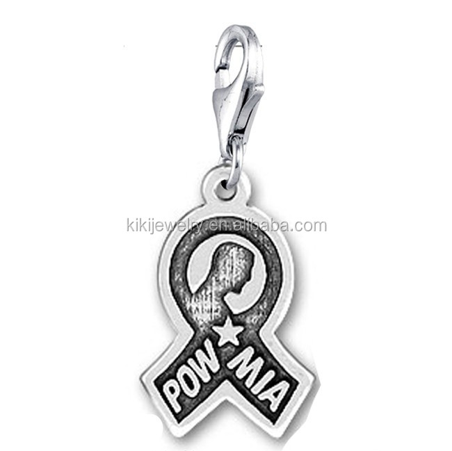 Wholesale Stock Antique Silver Plated Lobster Clasp Military Pow Mia Ribbon Charms
